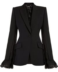 Alexander McQueen - Lace Trimmed Single Breasted Blazer - Lyst