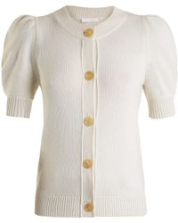Chloé - Iconic Puff-sleeved Cashmere Cardigan - Lyst