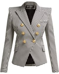 Balmain - Double-breasted Golden-button Houndstooth Blazer - Lyst