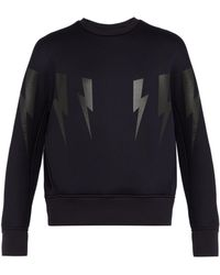 Neil Barrett - Lightning Bolt Print Bonded Neoprene Sweatshirt - Lyst