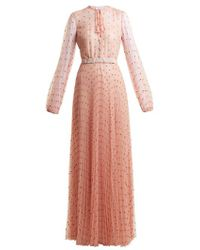 Luisa Beccaria - Polka-dot-tulle Long-sleeved Gown - Lyst