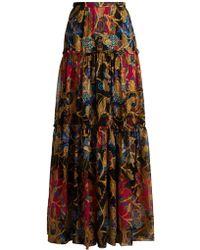 Etro - Eastern Print Silk Blend Skirt - Lyst