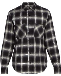 Amiri - Glitter Check Cotton Shirt - Lyst