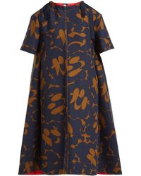 Marni - Floral Print Cotton Dress - Lyst