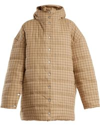 Awake | Checked Funnel-neck Quilted Cotton Coat | Lyst