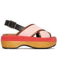 e0dd39457dfa Marni - Slingback Neoprene Flatform Sandals - Lyst