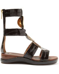 Chloé Crocodile Effect Leather Gladiator Sandals