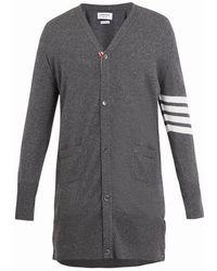 Thom Browne - Long V-neck Striped-sleeve Cashmere Cardigan - Lyst