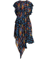 Preen Line - Ora Floral And Check-print Woven Dress - Lyst