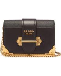 Prada - Cahier Leather Cross Body Bag - Lyst