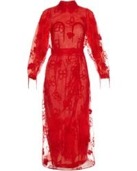 Simone Rocha - Spooky Flower-embroidered Long-sleeved Dress - Lyst