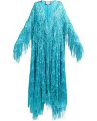 Gucci - Robe de soirée en fil coupé à franges métallisées - Lyst