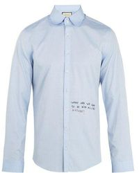 Gucci - Single-cuff Embroidered Oxford-cotton Shirt - Lyst