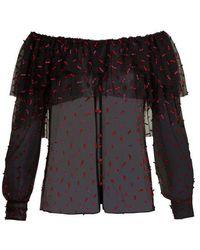 Rodarte - - Off The Shoulder Tulle Blouse - Womens - Black Multi - Lyst