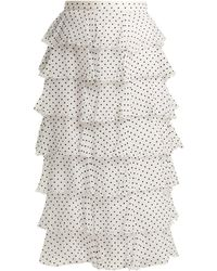 Rodarte - Flocked Polka Dot Chiffon Skirt - Lyst