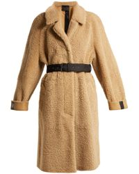 Prada - Belted Shearling Coat - Lyst