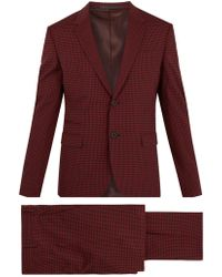 Valentino - Notch Lapel Gingham Wool Blend Suit - Lyst