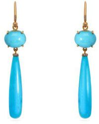 Irene Neuwirth - 18kt Gold, Diamond & Kingman Turquoise Earrings - Lyst