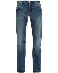 Dolce & Gabbana | Distressed Straight-leg Jeans | Lyst