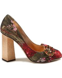 Dolce & Gabbana - Block-heel Floral-jacquard Court Shoes - Lyst