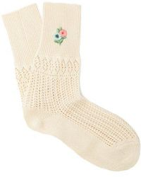 Gucci - Floral-embroidered Pointelle-knit Ankle Socks - Lyst