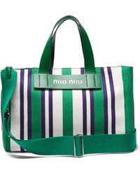 Miu Miu - Striped Canvas Shopper - Lyst