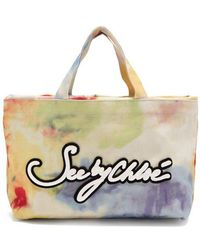 See By Chloé - Logo-embroidered Tie-dye Canvas Tote - Lyst