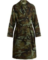 Nili Lotan - Farrow Camouflage-print Cotton-blend Trench Coat - Lyst