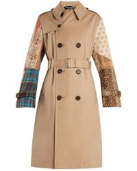 Junya Watanabe - Contrast-sleeve Cotton-garbardine Trench Coat - Lyst