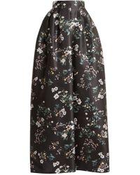 Rochas - Bouquet Print Duchess Satin Skirt - Lyst