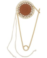 Loewe - Meccano Gold Plated Brass And Leather Pin - Lyst