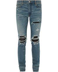 Amiri - Mx1 Distressed Leather Panel Slim Leg Jeans - Lyst