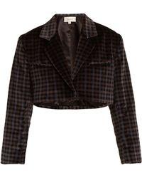 Isa Arfen - Tartan Checked Cotton Velvet Cropped Jacket - Lyst