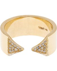 Ileana Makri - White-diamond & Yellow-gold Pyramid Ring - Lyst