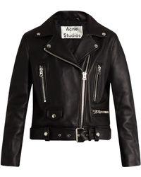 Acne | Mock Leather Biker Jacket | Lyst