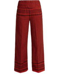 Cecilie Copenhagen - Wide-leg Scarf-jacquard Cotton Trousers - Lyst