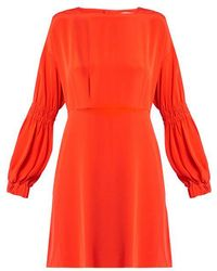Tibi - Balloon-sleeved Silk-crepe Dress - Lyst