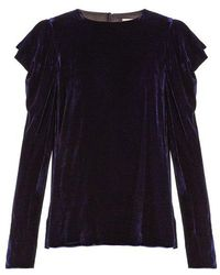 Tibi - Draped-sleeved Velvet Top - Lyst