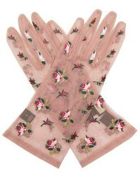 Gucci - Floral-embroidered Tulle Gloves - Lyst
