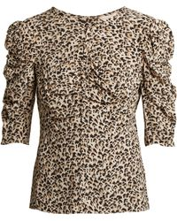 Rebecca Taylor - Ruched Leopard Print Silk Blouse - Lyst