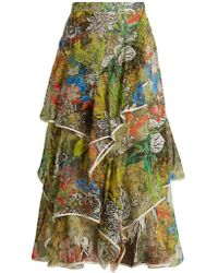 Peter Pilotto - Asymmetric Floral-print Silk-georgette Skirt - Lyst