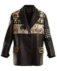 Prada - Contrast-panel Embellished Leather Jacket - Lyst