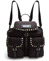 Prada - All Designer Products - Small Stud-embellished Nylon Backpack - Lyst