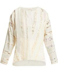 Chloé - Chantilly Lace Silk Crepe Blouse - Lyst