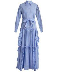 Sara Battaglia - Ruffle-trimmed Striped Cotton Dress - Lyst