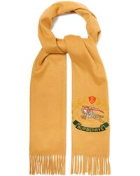 Burberry - Crest-embroidered Cashmere Scarf - Lyst