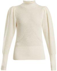 FRAME - High-neck Wool-blend Ribbed-knit Jumper - Lyst