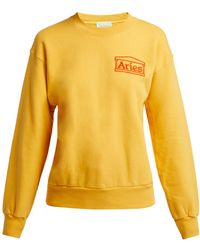 Aries - Logo Embroidered Cotton Sweatshirt - Lyst