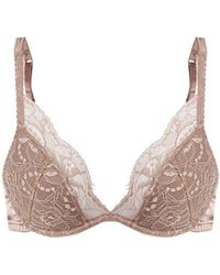 Fleur Of England - Silk Blend And Lace Plunge Bra - Lyst