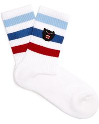 gucci socks. gucci | panther-embroidered cotton-blend socks lyst